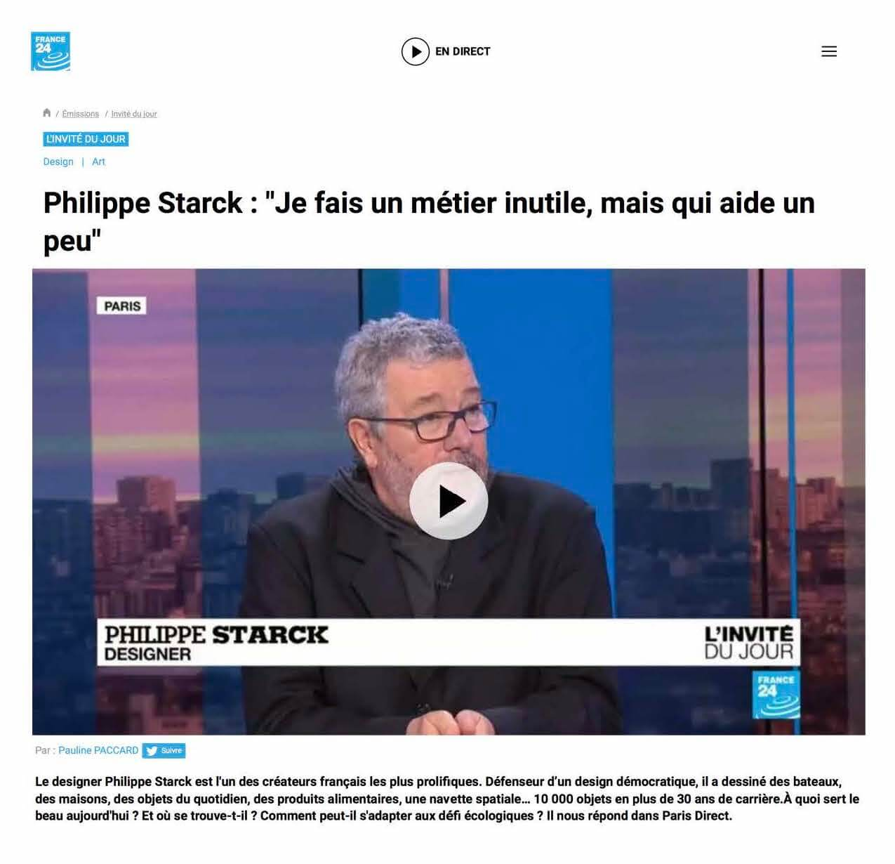 FRANCE 24 - Philippe Starck