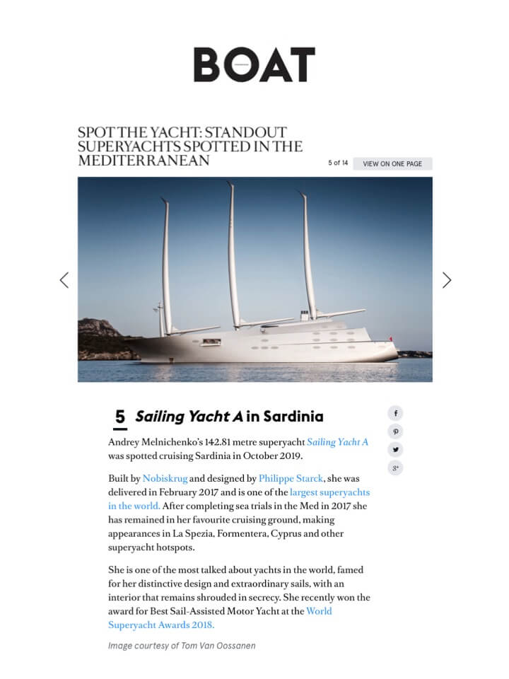 BOAT INTERNATIONAL - Sailing Yacht A