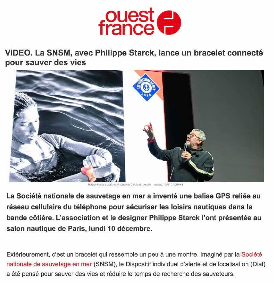 SNSM, with Philippe Starck, launches a connected bracelet to save lives