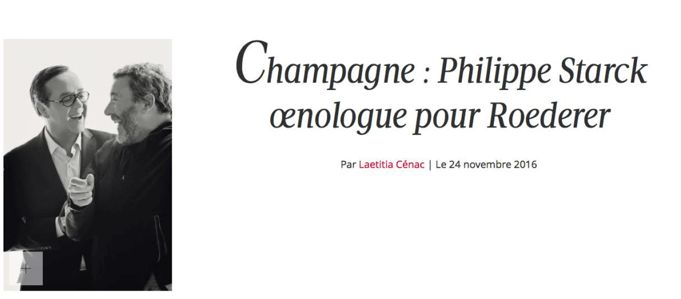 Champagne : Philippe Starck oenologue pour Roederer