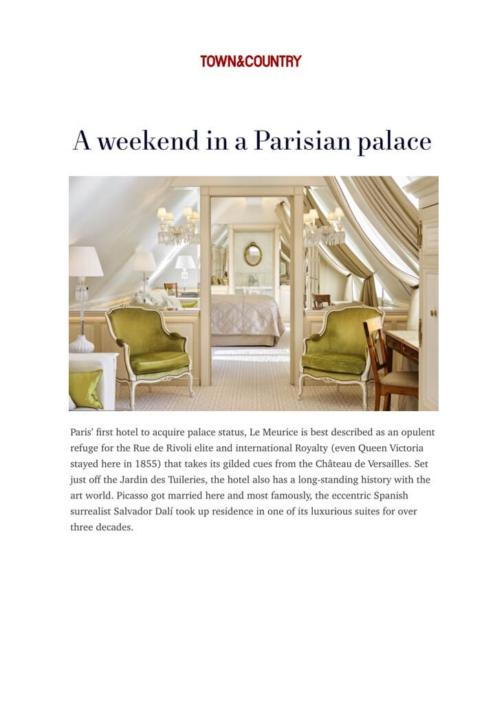 TOWN & COUNTRY - Le Meurice